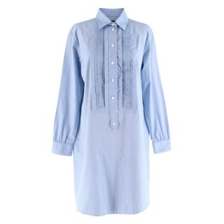 Burberry Blue Bib-Front Cotton-Chambray Shirt Dress