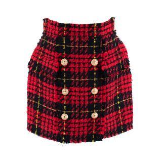 Balmain Red & Black Tweed Skirt with Golden Buttons