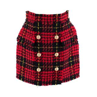 Balmain Red & Black Tweed Skirt with Golden Buttons