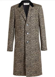 Saint Laurent Leopard Print Wool Single Breasted Coat