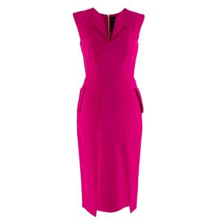 Roland Mouret Cerise Pink Sleeveless Tailored Midi Dress