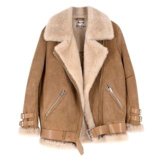 Acne Studios Nude Suede Belted Shearling Jacket