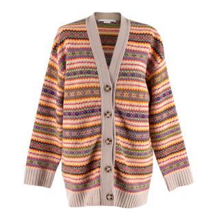 Stella McCartney Multi-coloured Striped Intarsia Knit Cardigan