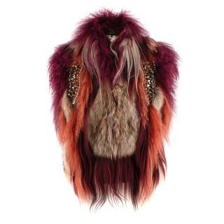 Gucci Cherry Orange & Brown Embellished Patchwork Fur Vest