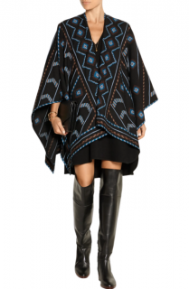 Talitha Black Wool Cashmere Blend Embroidered Poncho