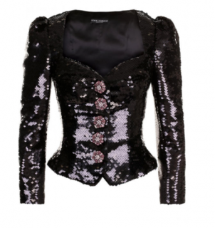 Dolce & Gabbana Black Sequin Jacket with Crystal Floral Buttons