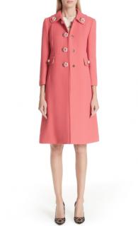 Dolce & Gabbana Pink Embellished Button Coat