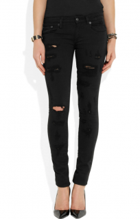 R13 Black Shredded Mid-Rise Skinny Jeans