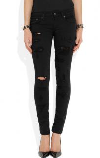 R13 Black Shredded Mid-Rise Skinny Jeans