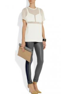 Les Chiffoniers Grey Leather Velvet Trim Leggings
