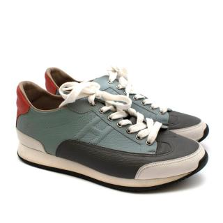 Hermes Blue-Grey Contrast Miles Leather Low-Top Sneakers