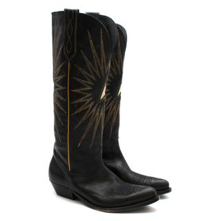 Golden Goose Handmade Wish Star Western Black Leather Boots