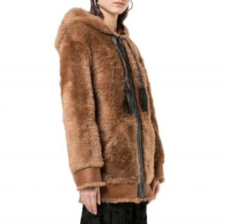 Coach Brown Shearling Hooded long jacket