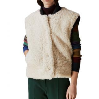 Burberry Two-tone Rib Knit Trim Shearling Gilet