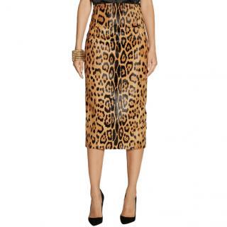 Balmain Leopard-Print Calf Hair Midi Pencil Skirt