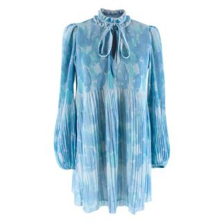 Ganni Blue Watercolor Pleated Long Sleeve Dress