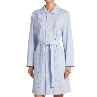 Maison Margiela Blue Striped Cotton-Poplin Shirt Dress