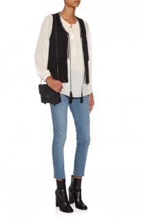 Talitha Black Embroidered Suede Fringed Gilet