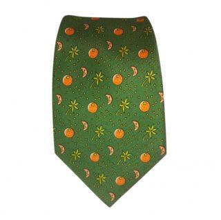 Hermes Green Orange Print Silk Tie
