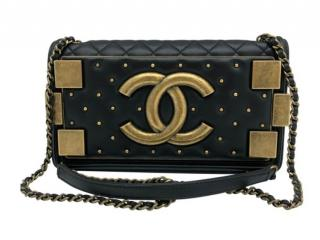 Chanel Black Lambskin Lego Studded Boy Bag
