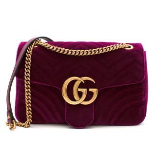 Gucci GG Marmount Purple Velvet Shoulder Bag