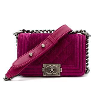 Chanel  Pink Velvet Quilted Mini 'Boy' Bag