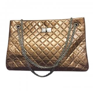 Chanel bronze leather quilted shoulder tote bag