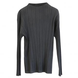 Pleats Please Grey High Neck Pleated Top