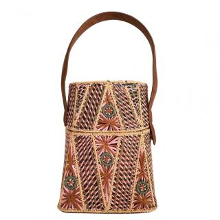 Meli Melo Raffia Embroidered Top Handle Bag
