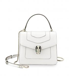 Bvlgari Serpenti White Leather Crossbody Bag