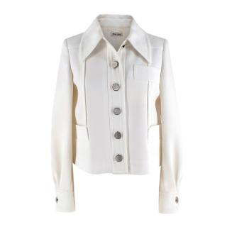 Miu Miu Ivory Tailored Jacket with Silver Buttons