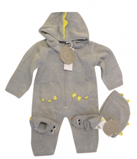 Stella McCartney Grey Merino Wool Dragon BabyGrow, Hat & Booties