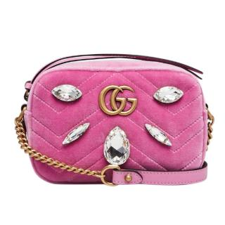 Gucci Pink Quilted Velvet and Marquise Crystal Mini GG Bag