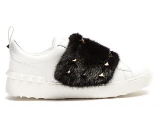 Valentino Mink Fur Trim Rockstud Sneakers