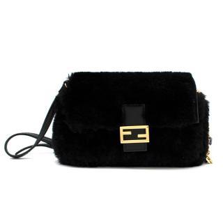 Fendi Black Micro Shearling Fur Baguette Bag