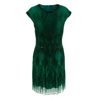 Roberto Cavalli Green Beaded Mini Dress
