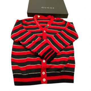 Gucci Red & Black Striped Knit Cardigan