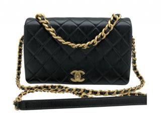 Chanel Black Leather Chain Flap Bag