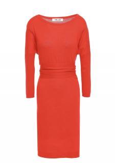 Diane Von Furstenberg Red Tie Back Merino Wool Dress