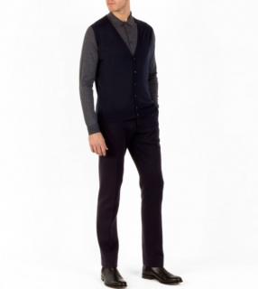 John Smedley Two-Tone Knit Sleeveless Cardigan