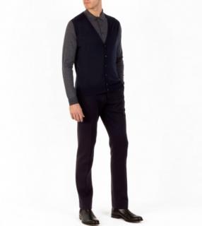 John Smedley Two-Tone Knit Sleeveless Cardigan