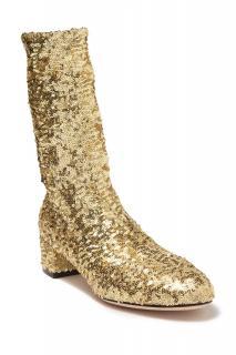Dolce & Gabbana Gold Glitter Stretch Sequin Boots
