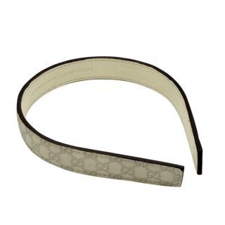 Gucci beige leather monogram headband