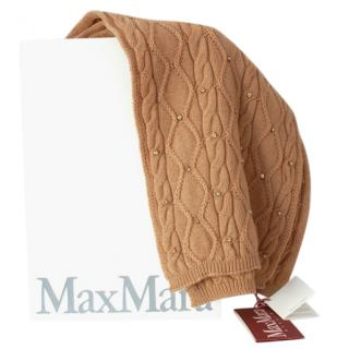 Max Mara Camel Embellished Cable Knit Wool Scarf