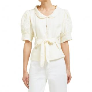 Innika Choo Cream Linen Floral Embroidered Blouse