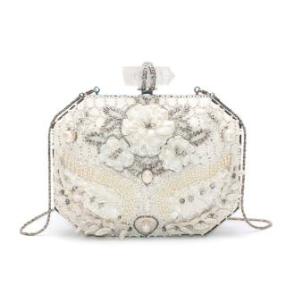 Marchesa White Iris Embellished Leather Box Clutch Bag