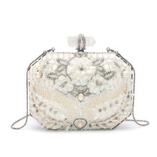 Marchesa White Iris Embellished Leather Box Clutch Bag
