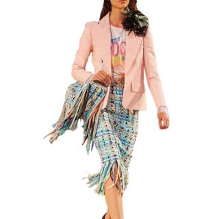 Chanel Metiers D'Art Tweed Cuba Collection Blue Fringed Skirt
