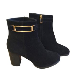Tod's Black Suede Buckle Detail Ankle Boots