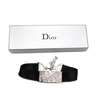 Christian Dior Vintage Silver Crystal Trotter Choker